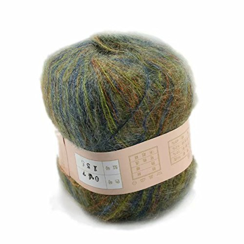 Artilin One Skein Soft&Warm Angola Mohair Cashmere Wool Knitting Yarn 50g,Multi-colored047
