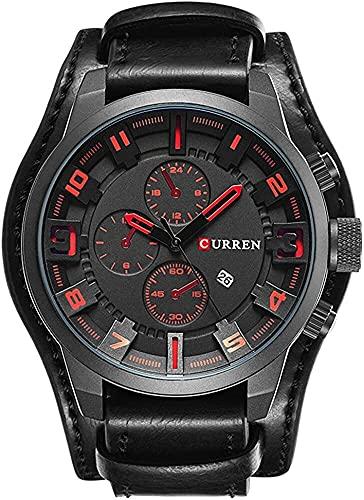QHG Hombres Reloj Militar De Cuarzo Top Marca De Lujo Correa De Cuero Analógico Deportivo Reloj De Pulsera Calendario (Color : 5)