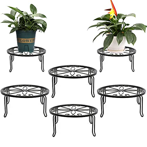 6 Pack Black Metal Potted Plant Stands for Indoor and Outdoor Plants 9.1 inches Flower Pot Planter Holder, Metal Rustproof Iron Garden Container Round Supports Rack
