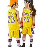 Traje de Jersey de Baloncesto para niños Lebron James 23# Los Angeles Lakers, Camiseta sin Mangas y pantalón Corto de Verano para niñas, Conjunto de chándal Loungewear-Yellow-L
