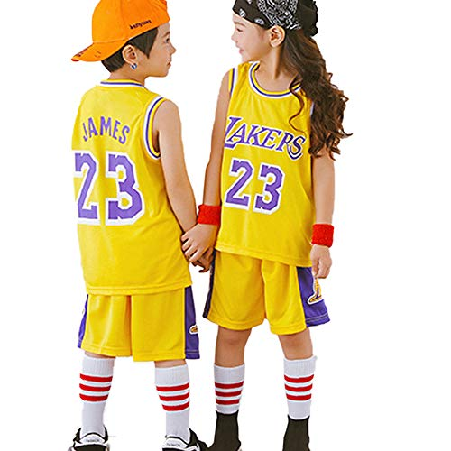 Los Angeles Lakers # 23 Lebron James Niños Traje de Baloncesto Jersey, Niños Niñas Verano Entrenamiento Jersey Uniforme de Baloncesto Conjunto de Top y Pantalones Cortos-Yellow-L