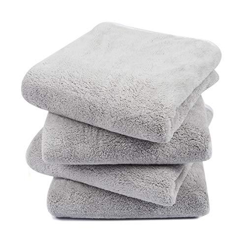 KinHwa 4er Pack Microfaser Handtücher, Stark Wasserabsorbierendes Mikrofaser Handtuch, Mikrofaser Badetuch, Super Weich Duschtücher, Schnelltrocknend & Saugstark, 40cm x 76cm, Hellgrau