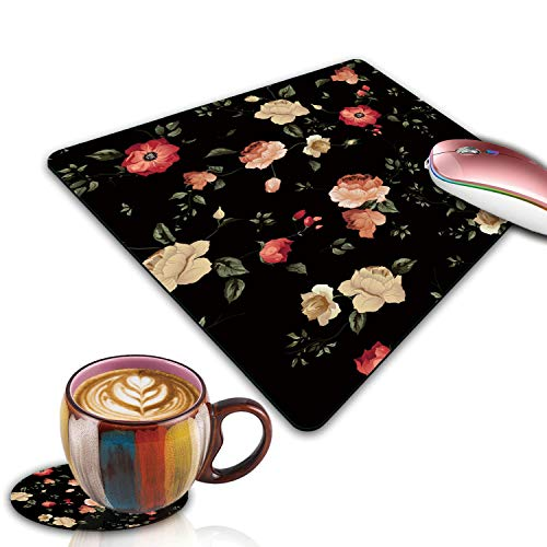 Gaming Mouse Pad, Floral Pattern with of Roses Customized Designs Non-Slip Rubber Base Gaming Mouse Pads and Coaster Set for Mac, PC, Computers. Ideal for Working Or Game 9.5x7.9inch