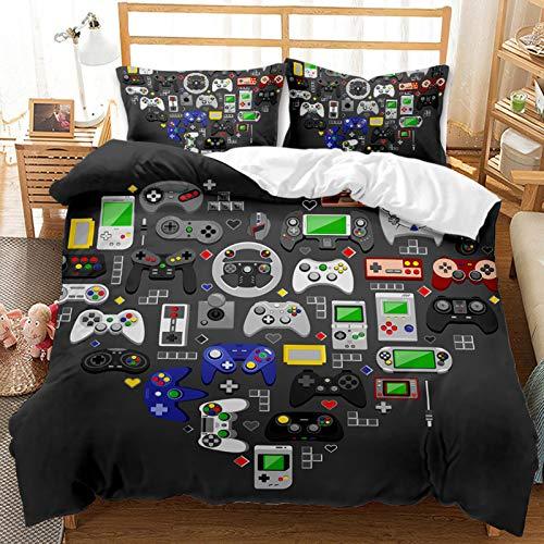kxry Retro Video Game Controller Bedding King Size Modern Gamepad Gamer Duvet Cover Set for Boys Kids Teens 1 Duvet Cover + 2 Pillow Shams
