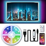 Tiras LED TV 3M, 5050 RGB Luces de LED, Bluetooth LED Tiras, Luces Tiras Kit con Control Remoto, Control APP, USB Adaptador,...