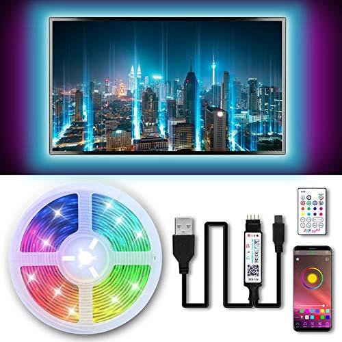 Tiras LED TV 3M, 5050 RGB Luces de LED, Bluetooth LED Tiras, Luces Tiras Kit con Control Remoto, Control APP, USB Adaptador, Multicolor, Impermeable, Tiras LED TV 5V 1-1.5A para 40-60in HDTV/PC