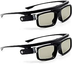 Docooler GL1800 Gafas 3D Pack de 2 Unisex,Obturador Activo DLP-Link Recargable para Todos los proyectores DLP 3D Optama Acer BenQ ViewSonic Sharp DELL