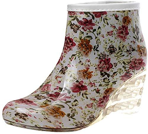 LvRao Frauen Stiefeletten Lederstiefel mit Hohen Absätzen Gummistiefeln wasserdichte Gartenschuhe Regen Boots Knöchel Stiefel Blume Etikett 39, EU 39