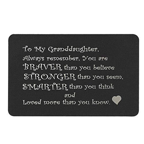 Queenberry SPA1017-GD-PAR, Portafogli Donna Nero Love Granddaughter Text + Photo Engraving (Aluminum) Regular