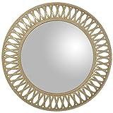 DONREGALOWEB - Espejo de Pared Redondo de Resina en Blanco Dorado 76x5cm, INT....