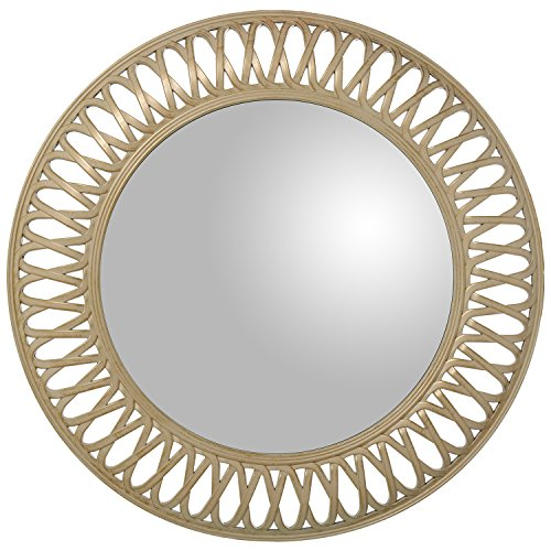 DONREGALOWEB - Espejo de Pared Redondo de Resina en Blanco Dorado 76x5cm, INT. 49cm