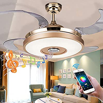 Fandian 42'' Modern Ceiling Fans with Light Smart Bluetooth Music Player Chandelier 7 Colors Invisible Blades with Remote Control, Dimmable LED Kits Inlcuded