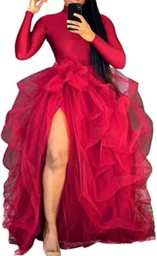 N /C Women's Mesh Tutu Skirt Long Skirt A-Line Puff Mesh Skirt Solid Color Skirt Princess Dress