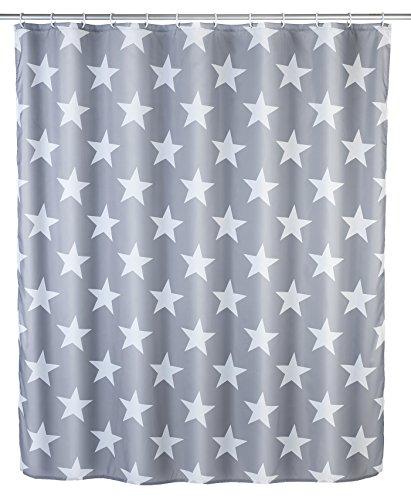 WENKO Anti-Schimmel Duschvorhang Stella, Duschvorhang mit Antischimmel Effekt fürs Badezimmer, inkl. Ringen zur Befestigung an der Duschstange, waschbar, 100prozent Polyester, 180 x 200 cm, grau