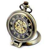 Infinite U Ángulo Recto Lupa Colgante Collar Esqueleto Hueco Reloj de Bolsillo Mecánico -Bronce Dail Negro