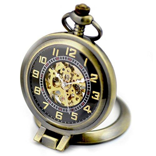 Infinite U 多功能ルーペ機械懐中時計 手巻き式 ブロンズ金属 黒ベース蓋 アラビア文字盤 メンズ/レディース共用時計 アンティーク調 アイデアカップル機械時計 スケルトンレディースメンズ時計 アクセサリー