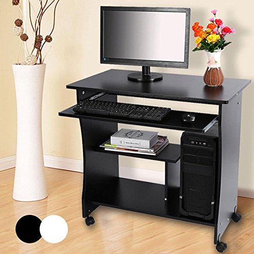 Scrivania Porta PC Tavolo per Computer Desk Laptop Desk da Studio,Studio Ufficio Scaffale con Ruote, con Ripiani Tastiera Ripiano Scorrevol, Facile da Montare, 4 Rotelle 80 * 49.5 * 76CM (Nero)