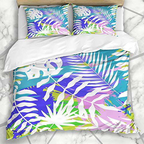 1203 Bettbezug-Sets Doodle Blue Leaf Helle abstrakte Tropische Strand rosa Muster Floral Sommer Palm Design Mikrofaser-Bettwä