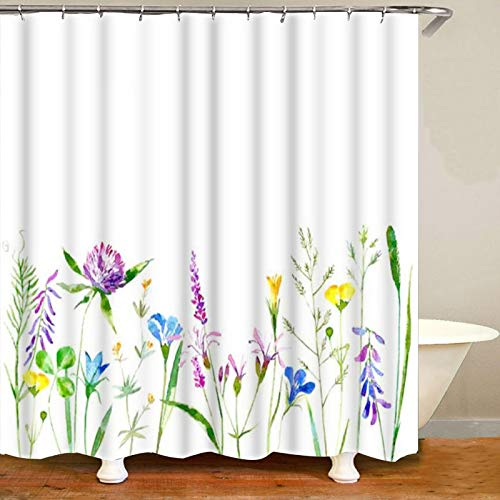 XCBN Cortina de Ducha Natural de jardín de Flores Silvestres Caliente Juego de Cortina de baño 3D Flor Paisaje decoración del hogar A2 90x180cm