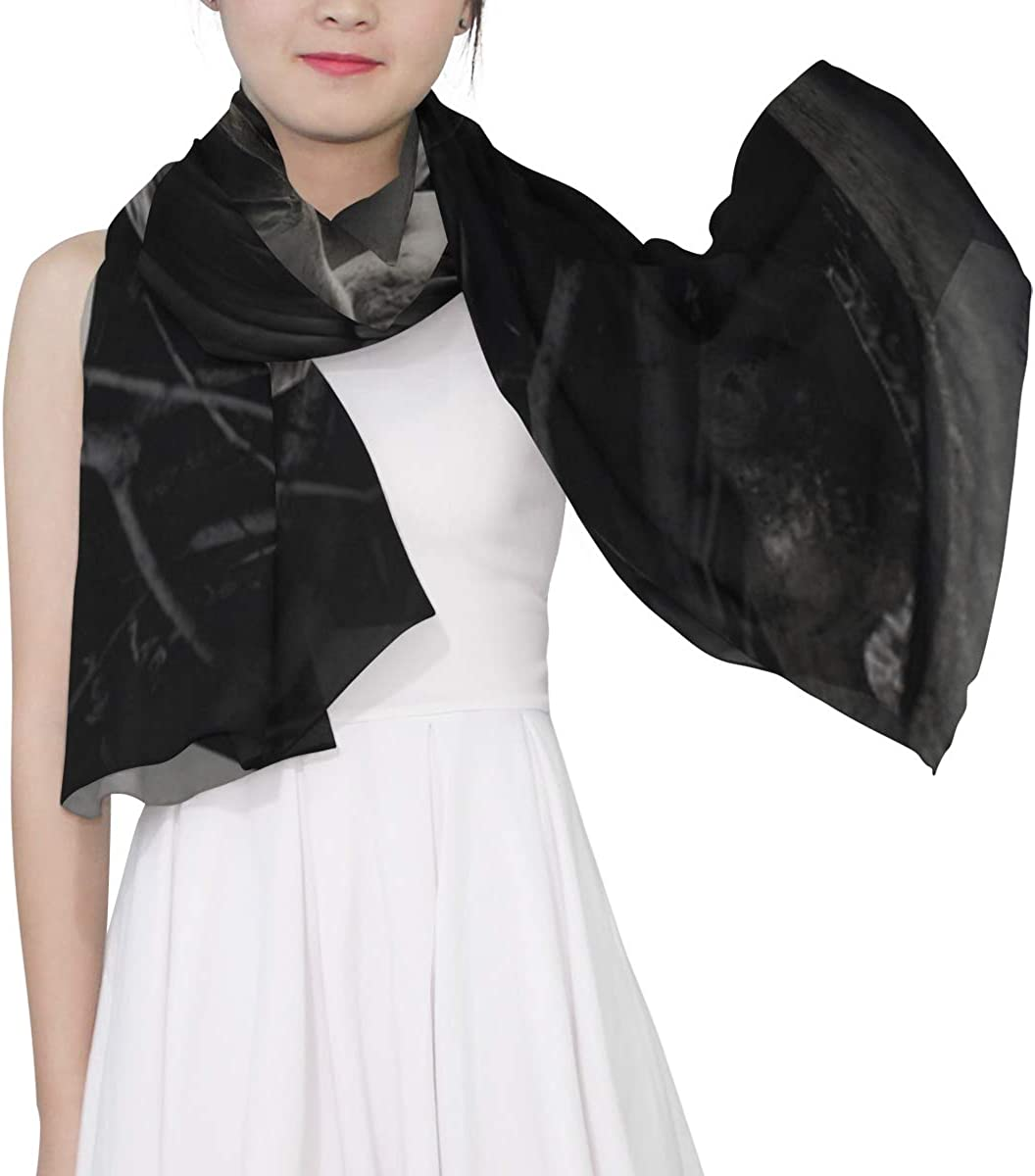 Black And Terrible Crow Unique Fashion Scarf For Women Lightweight Fashion Fall Winter Print Scarves Shawl Wraps Gifts For Early Spring