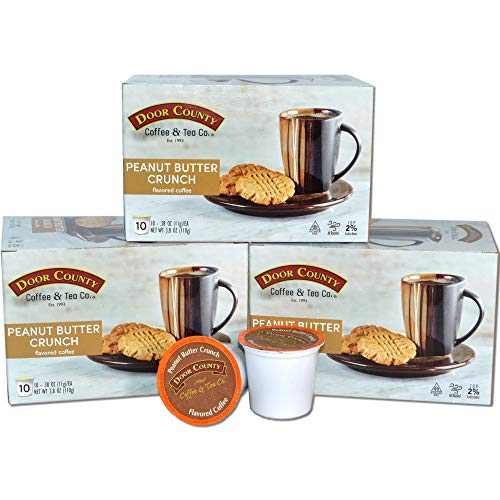 Door County Coffee, Single Serve Cups for Keurig Brewers, Peanut Butter Flavored Coffee, Medium Roast, Ground Coffee, 30 Count