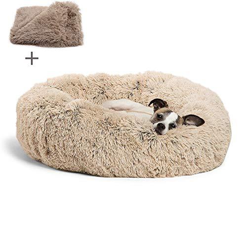 Boehner Cama Redonda para Mascotas, Suave, Lavable, autocalentante, calmante, Cama para Perro, Cama Redonda para Perro, cómoda para Dormir en Invierno (Cama para Mascotas Donut), Beige, 80 cm