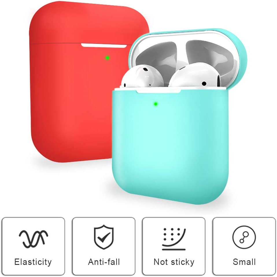 2X coque en silicone pour Apple AirPods 2 /& 1 Molylove Case pour Airpods Coque en Silicone Coque Protection Antichoc AirPods 2 /& 1, rouge+ Noir Face avant visible