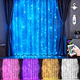 LED Rainbow Curtain Lights, 16 Colors 11 Lighting Modes Backdrop Fairy String Lights with Remote, USB Powered Window Hanging Lights for Bedroom Garden Party Wedding Wall Outdoor Indoor Decoration
