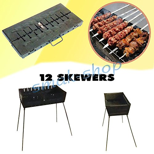 12 SKEWER MANGAL SCHASCHLIK GRILL BRAZIER BARBECUE CHAR GRILL CASE BBQ CHARGRILL