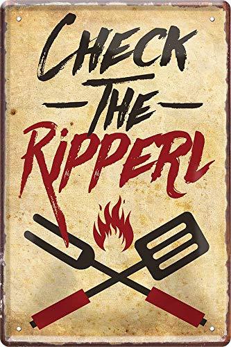 """Blechschilder Küchen Motiv: """"Check The Ripper"""" Deko Schild für Grill Fans & Köche 20x30 cm"""