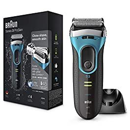 Braun Series 3 ProSkin 3080s Electric Shaver Wet and Dry Electric Razor for Men with Pop Up Precision Trimmer and Charging Stand Rechargeable and Cordless Shaver Black/Blue, 2 pin plug