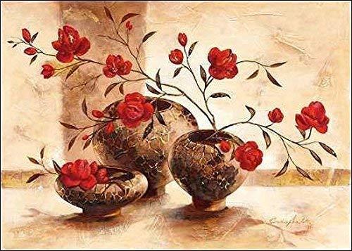 Rahmen-Kunst Keilrahmen-Bild - Claudia Ancilotti: Mauritius Leinwandbild Stillleben modern floral rot (80x115)