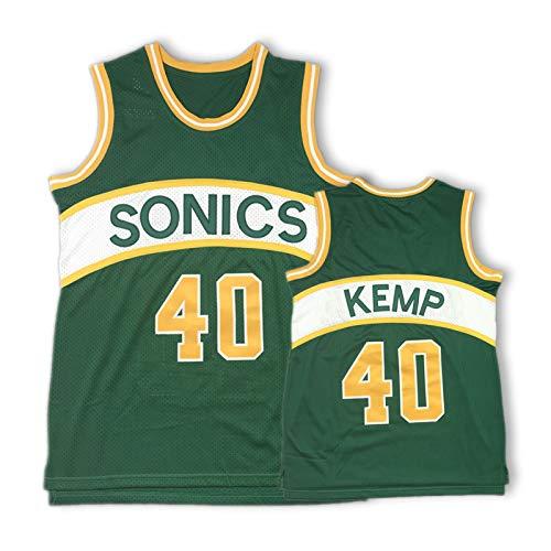 WXFO Camiseta de baloncesto para hombre, Sonics 40 # Retro Unisex Bordado Baloncesto Jerseys Sin Mangas Chaleco Deportivo Top amarillo-L