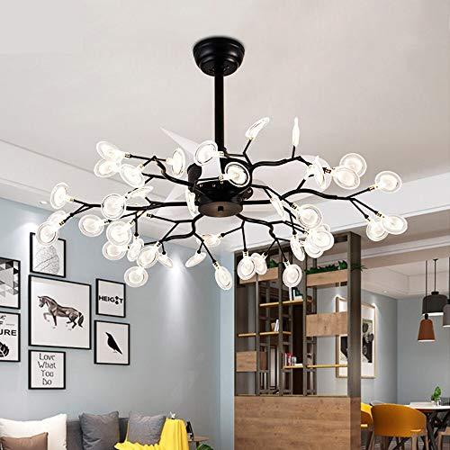 OUPPENG Lámpara de Ventilador Luz del ventilador de techo DC de 26 pulgadas con luces de control remoto Lámparas de iluminación Decoración del hogar Reversión Air Enfriamiento silencioso Glowworm