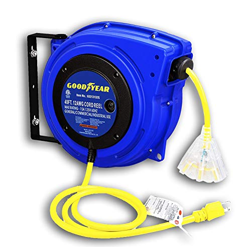 Goodyear Extension Cord Reel Heavy Duty, 40 ft., 12AWG/3C SJTOW, Triple Tap with LED Lighted Connector