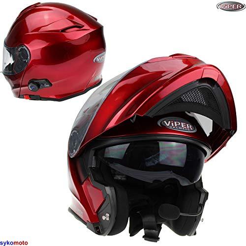 53-54 CM Viper RS-V171 Bluetooth Motorrad Integralhelm Fahrradhelm Klapphelm Matt Schwarz Integrierte Sonnenblende Pin Lock Bereit XS