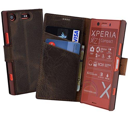 Suncase Book-Style für Sony Xperia XZ1 Compact (Slim-Fit) Ledertasche Leder Tasche Handytasche Schutzhülle Hülle Hülle (mit Standfunktion & Kartenfach) antik braun