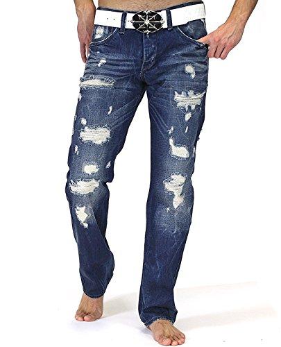Redbridge Herren Jeans Hose Destroyed Style Regular Fit RB-162 (W36 L34, Blau)