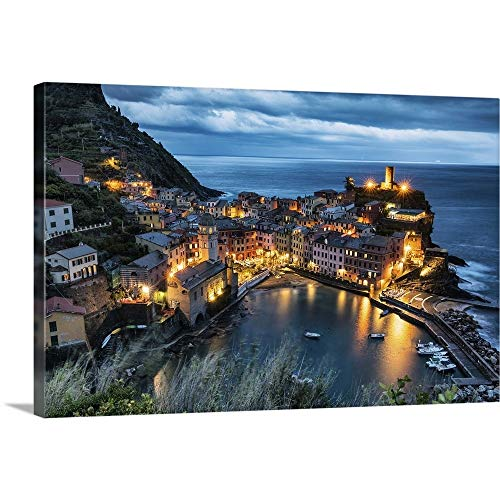 "GREATBIGCANVAS Vernazza After Dark in The Cinque Terre, Italy Canvas Wall Art Print, 18""x12""x1.5"""