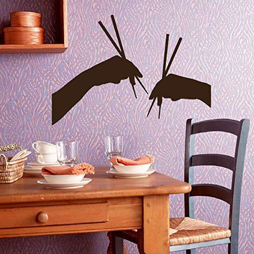 Modeganqingg Nuevo diseño Pared calcomanía Vinilo Apliques Cocina Pegatina Mural Restaurante decoración Mano Palillos Arte Restaurante Papel Pintado marrón 63x42cm