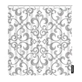 AOYEGO Floral Bathroom Shower Curtain Vintage Grey White Baroque Flower Leaves Curtains Home Long Polyester Fabric Shower Curtain 72x90 Inch with Hooks