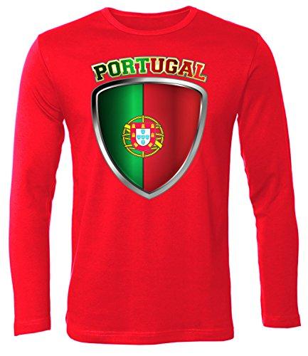 Portugal Fan t Shirt Artikel 4692 Fuss Ball Langarm Longsleeve EM 2020 WM 2022 camisola Team Trikot Look Flagge Fahne Futebol Männer Herren M