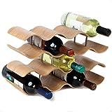 Lily's Home Countertop Wave Wine Rack, Wood, Elegant and Modern, Table Top Wine Storage (Oak, 14 Bottles)