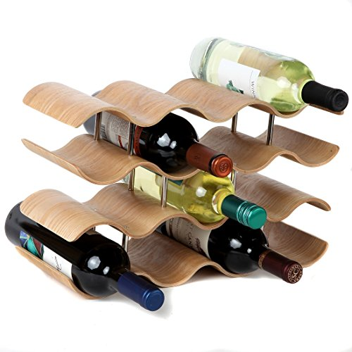 Lilys Home Countertop Wave Wine Rack Wood Elegant and Modern Table Top Wine Storage Oak 14 Bottles