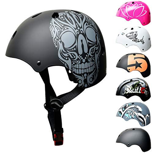 SC Skateboard & BMX Bike Helmet for Kids & Adults – 12 Designs, Matt Black Skull - Children Helmet, Size: S