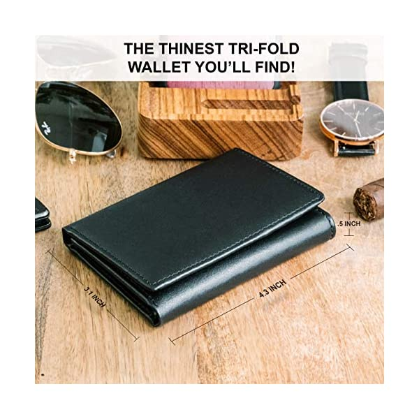 Stay Fine Mens Trifold Wallet | Leather Wallets For Men RFID Blocking | Genuine Leather Wallet with ID Window | Extra Capacity Mens Wallet