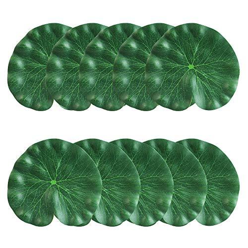 CODIRATO Lot de 10 Artificielle Feuilles de Lotus, Plantes d'Aquarium en Mousse Feuilles de Lotus Flottant Décoration pour Jardin Aquarium (18CM)
