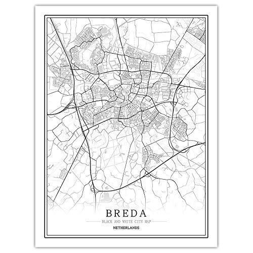 Breda Canvas afdrukken, zwart-wit wereld stadsplanster, poster Nordic woonkamer, wand kunstdruk, poster schilderij op canvas voor thuis, inrichting, woonkamer, slaapkamer, hal bibliotheek 70×100cm