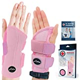 Doctor Developed Fitted Wrist Support/Wrist Strap/Wrist Brace/Hand Support (Single) & Doctor Written Handbook - Suitable for Both Right and Left Hands (Pink, Right)