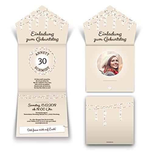 30 x Lasergeschnittene Geburtstag Einladungskarten Einladungen - Lichtgirlande Beige